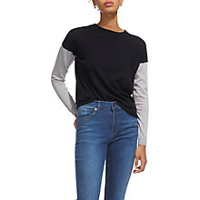 Buy Whistles Colour Block Sleeve Jumper, Navy Online at johnlewis.com