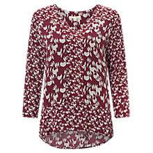 Buy White Stuff Yukiko Panel Detail Curved Hem Top, Plum/White Online at johnlewis.com