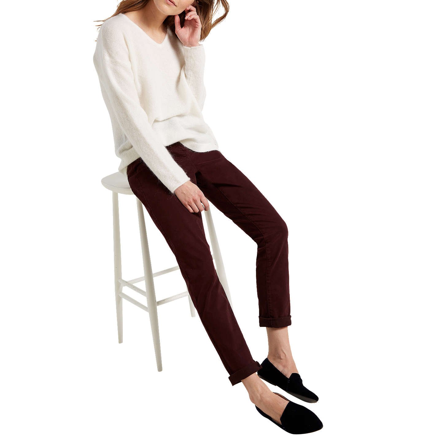 BuyWhite Stuff Oak Peached Slim Trousers, Aubergine, 18 Online at johnlewis.com