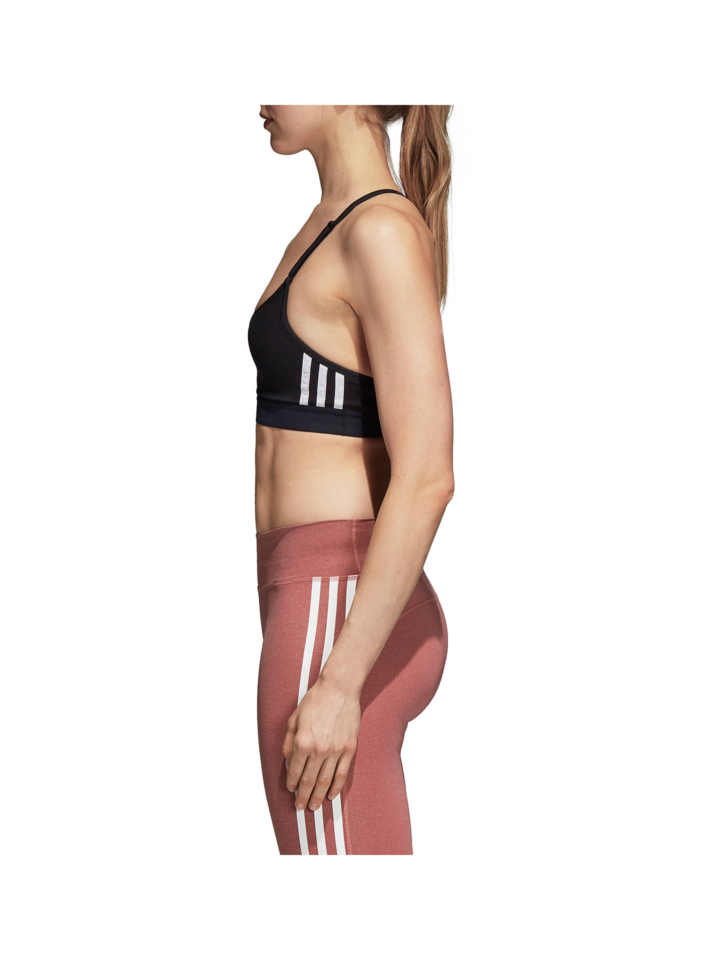 Buy adidas All Me 3 Stripe Sports Bra, Black, XS Online at johnlewis.com