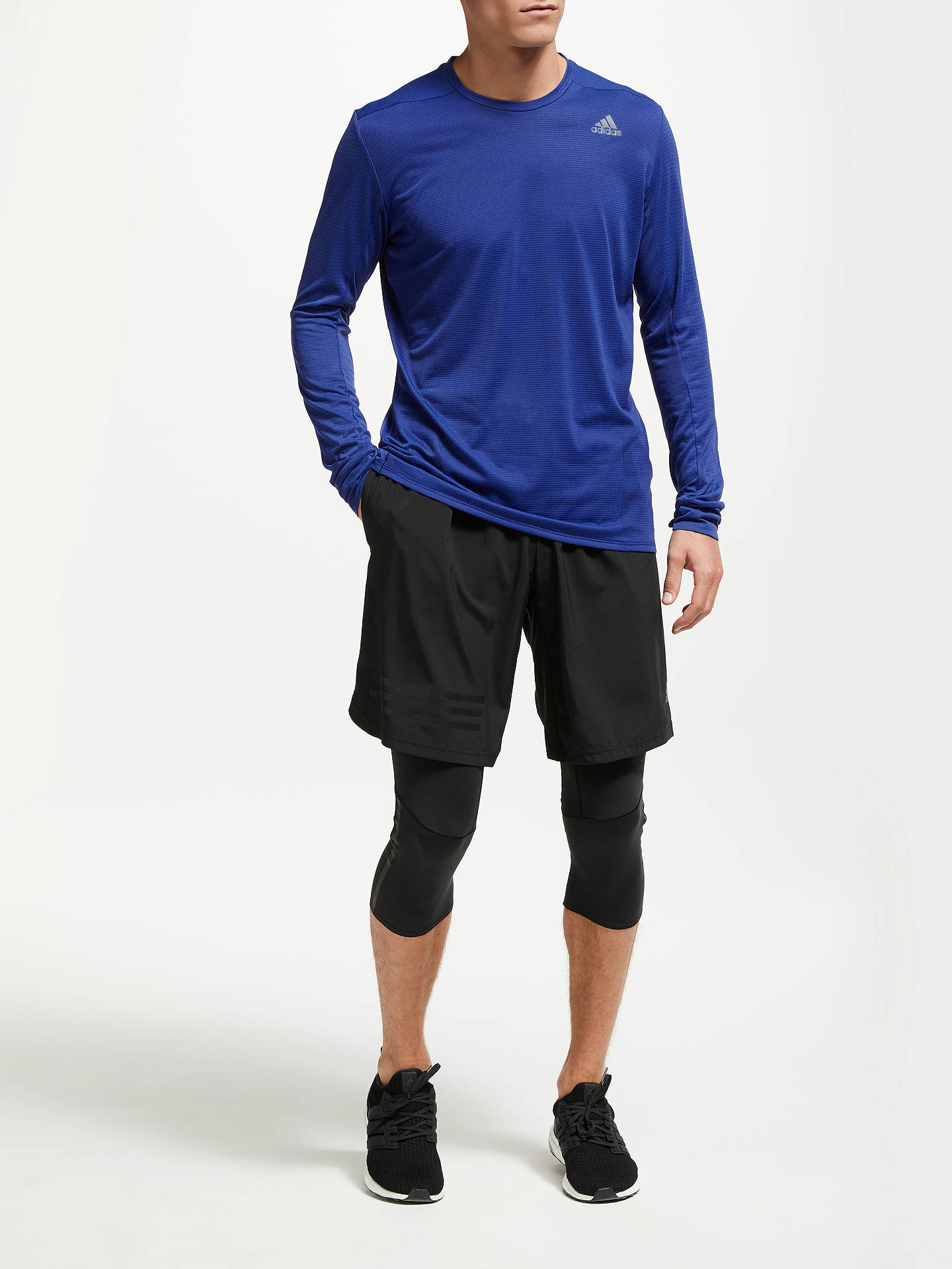 Buyadidas Supernova Long Sleeve Running Top, Blue, S Online at johnlewis.com