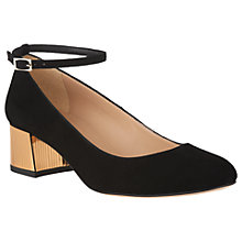 Buy L.K. Bennett Alba Block Heeled Court Shoes, Black Suede/Gold Online at johnlewis.com