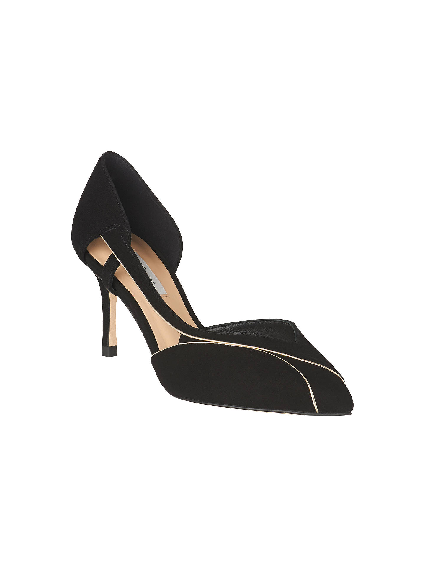 8947395670dbb Buy L.K.Bennett Loretta Kitten Heel Open Court Shoes, Black Suede/Soft  Gold, ...