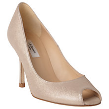 Buy L.K. Bennett Margo Peep Toe Court Shoes, Platinum Gold Suede Online at johnlewis.com