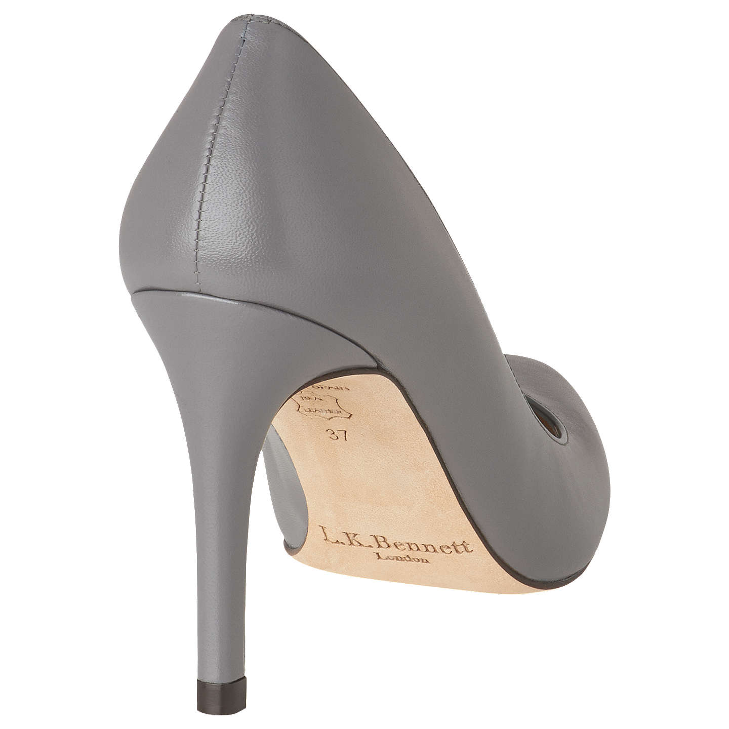 BuyL.K. Bennett Stila Leather Court Shoes, Grey Leather, 2 Online at johnlewis.com