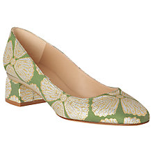 Buy L.K. Bennett Nuriya Block Heel Court Shoes, Green Fabric Online at johnlewis.com