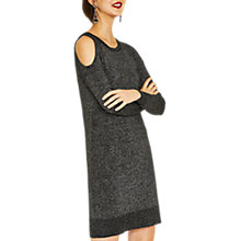 Buy Oasis Cold Shoulder Knit Dress, Black/Multi Online at johnlewis.com