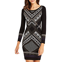 Buy Oasis Deco Placement Dress, Black Online at johnlewis.com