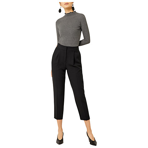 Buy Warehouse Crepe Peg Cropped Trousers, Black Online at johnlewis.com