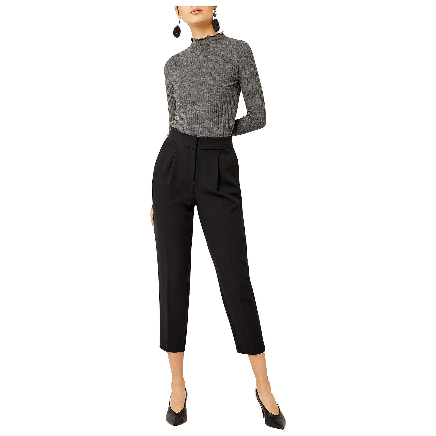 BuyWarehouse Crepe Peg Cropped Trousers, Black, 10 Online at johnlewis.com