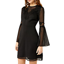 Buy Warehouse Lace Neck Trim Dress, Black Online at johnlewis.com