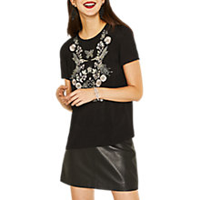 Buy Oasis Bird Embellished T-Shirt, Black/Multi Online at johnlewis.com