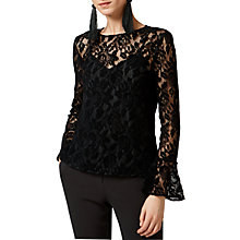 Buy Warehouse Velvet Lace Top, Black Online at johnlewis.com