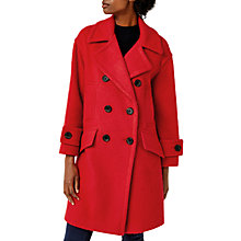 Buy Warehouse Double Breasted Wool Blend Coat, Bright Red Online at johnlewis.com