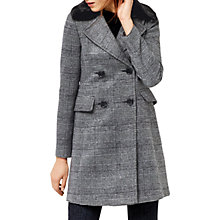 Buy Warehouse Check Faux Fur Collar Coat, Black Pattern Online at johnlewis.com