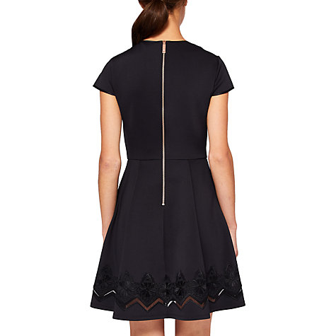 Buy Ted Baker Cheskka Lace and Mesh Detail Skater Dress, Black Online at johnlewis.com