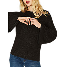 Buy Oasis Bell Sleeve Cosy Jumper, Dark Grey Online at johnlewis.com