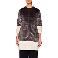 Buy Ted Baker Argenta Faux Fur Coat, Light Grey Online at johnlewis.com