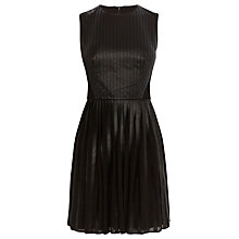 Buy Karen Millen Faux Leather Pleated Dress, Black Online at johnlewis.com