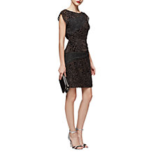 Buy Reiss Lulan Burnout Cocktail Dress, Black/Grey Online at johnlewis.com