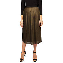 Buy Jaeger Metallic Pleated Skirt, Gold Online at johnlewis.com