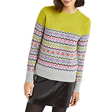 Buy Oasis Fair Isle Jumper, Mid Green Online at johnlewis.com