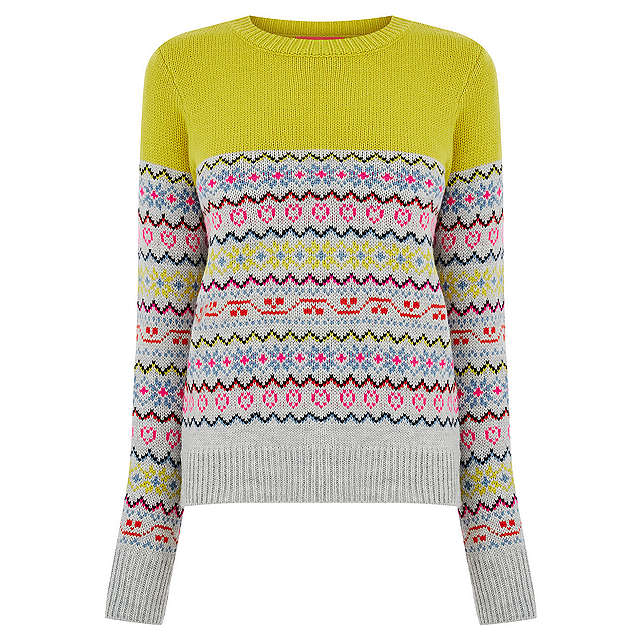Oasis Fair Isle Jumper, Mid Green | M at John Lewis