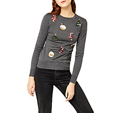 Buy Warehouse Embellished Christmas Jumper, Dark Grey Online at johnlewis.com