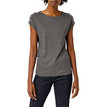 Buy Warehouse Star Embellished Shoulder T-Shirt, Dark Grey Online at johnlewis.com