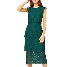 Buy Warehouse Tiered Lace Dress, Dark Green Online at johnlewis.com
