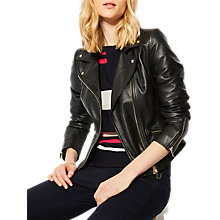 Buy Karen Millen Leather Biker Jacket, Black Online at johnlewis.com