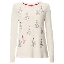 Buy White Stuff Xmas Tree Christmas Jumper, Oatmeal Online at johnlewis.com