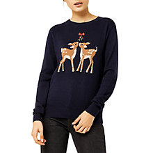 Buy Warehouse Embroidered Christmas Deer Jumper, Navy Online at johnlewis.com