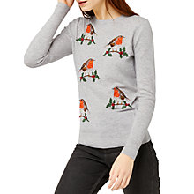 Buy Warehouse Embroidered Robin Jumper, Light Grey Online at johnlewis.com