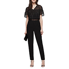 Buy Reiss Talita Lace Top Jumpsuit, Black Online at johnlewis.com