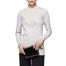 Buy Reiss Tracey Sheer Panelled Top, Frost Grey Online at johnlewis.com