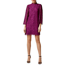 Buy Warehouse High Neck Lace Dress, Raspberry Online at johnlewis.com