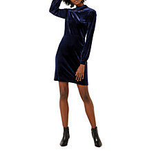 Buy Warehouse Velvet Tie Back Dress, Navy Online at johnlewis.com