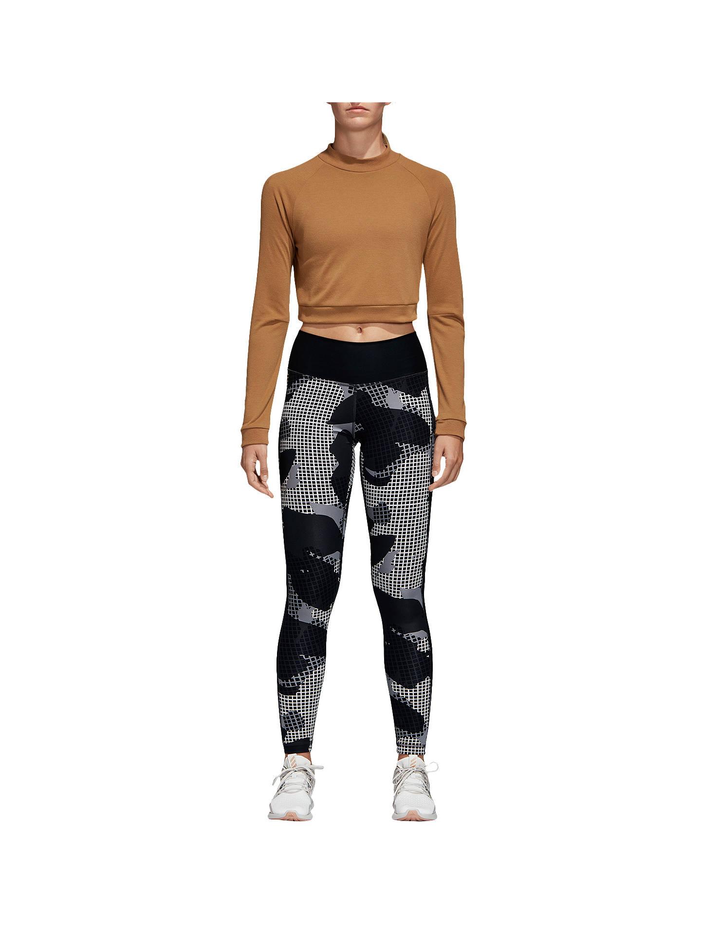 5ffc6fab334664 Buy adidas Climalite Printed Training Tights, Black/Print, XS Online at  johnlewis.