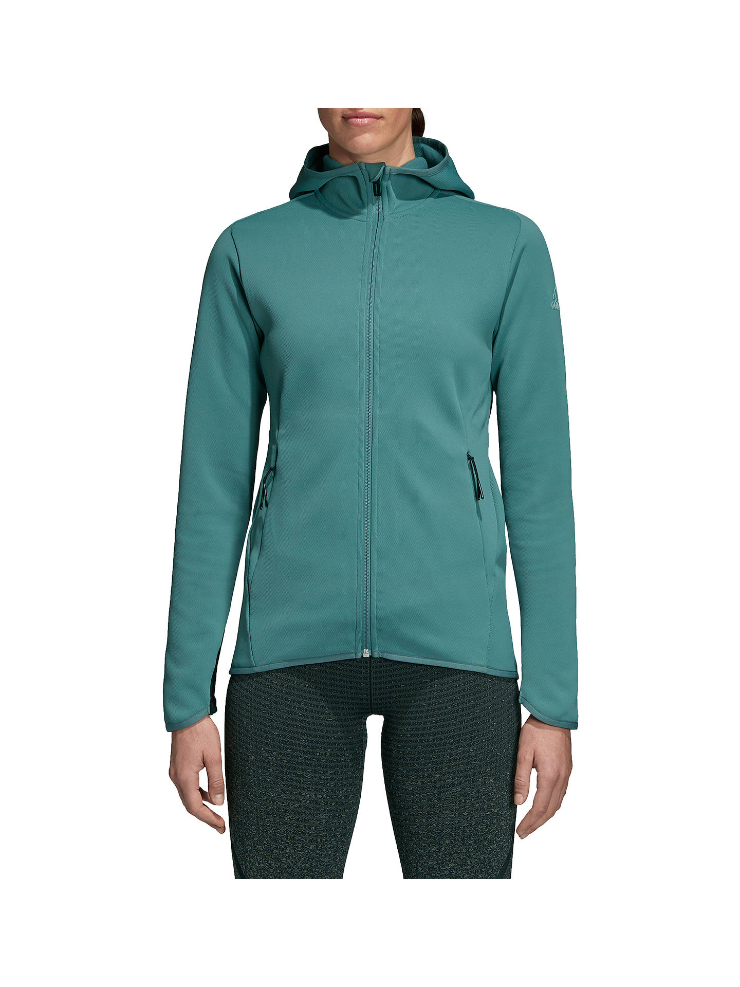 half off 7570d 978cc Buyadidas Freelift Climaheat Hoodie, Raw Green, XS Online at johnlewis.com  ...