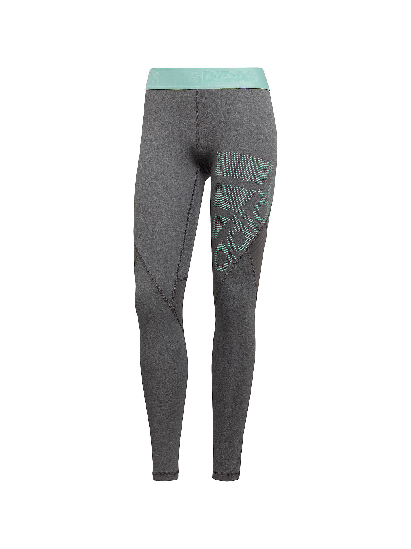 Buy adidas Alphaskin Sport Training Tights, Dark Grey Heather/Clear Mint, XS Online at johnlewis.com