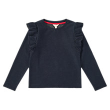 Buy Jigsaw Girls' Sparkle Ruffle Top, Navy Online at johnlewis.com