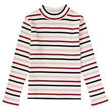 Buy Jigsaw Girls' Stripe Ribbed Polo Neck Top Online at johnlewis.com