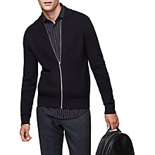 Buy Reiss Dagger Cotton Blend Bomber, Navy Online at johnlewis.com
