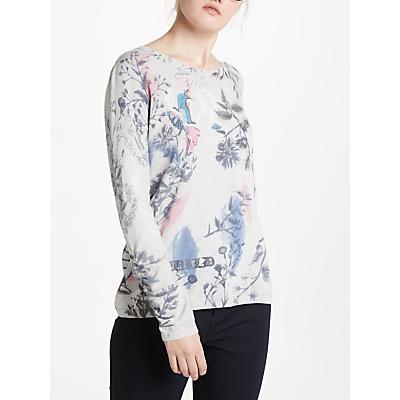 Oui Floral Bird Print Knit, Grey