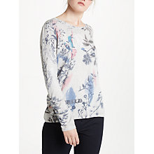Buy Oui Floral Bird Print Knit, Grey Online at johnlewis.com
