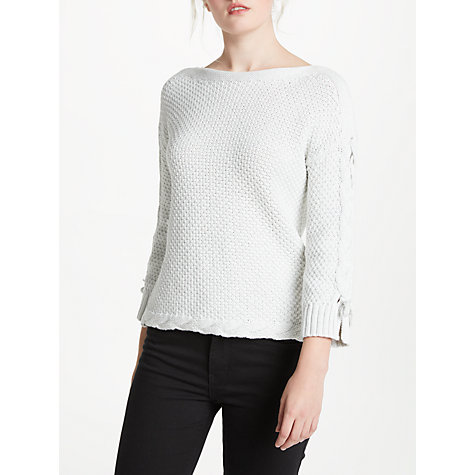 Buy Oui Tie Sleeve Knit, Light Grey Online at johnlewis.com