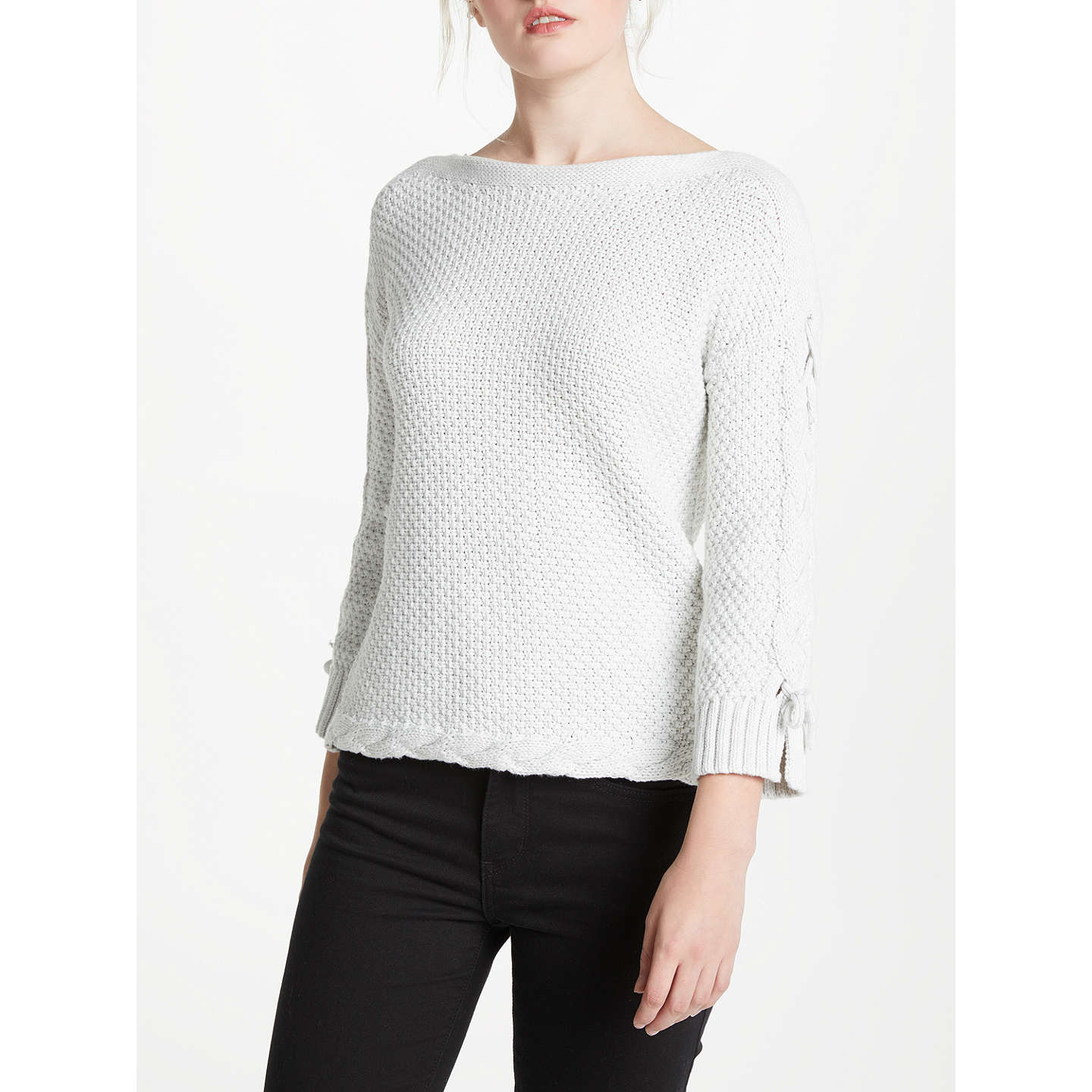 BuyOui Tie Sleeve Knit, Light Grey, 8 Online at johnlewis.com