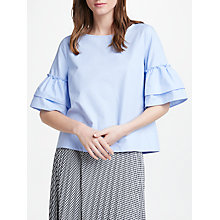 Buy Marella Frill Sleeve Blouse, Light Blue Online at johnlewis.com