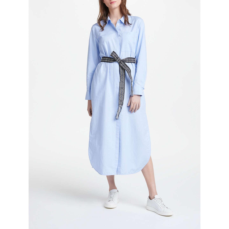 Marella Long Sleeve Shirt Dress Light Blue at John Lewis